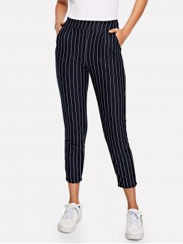 Casual Striped Tapered/Carrot Regular Elastic Waist High Waist Navy Cropped Length Pocket Side Pinstripe Cigarette Pants