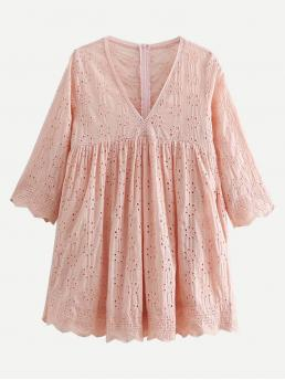Cute A Line Plain Loose V neck Three Quarter Length Sleeve High Waist Pink Mini Length Eyelet Embroidered Babydoll Dress