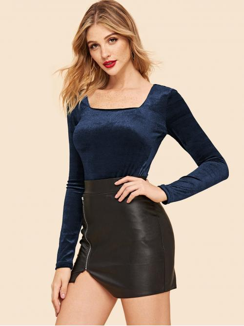 Shopping Long Sleeve Cami Cut out Velvet Square Neck Fitted Top