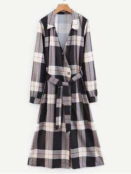 Casual Shirt Plaid Straight Collar Long Sleeve Natural Black and White Long Length Self tie Plaid Shirt Dress with Belt
