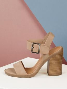 Glamorous Nude High Heel Chunky Open Toe Solid Strap Stacked Block Heel Sandals