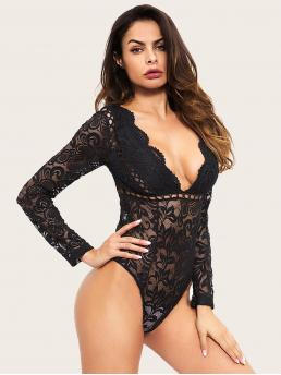 Sexy Shirt Plain Skinny Deep V Neck Long Sleeve Mid Waist Black Lace Plunging Sheer Backless Bodysuit