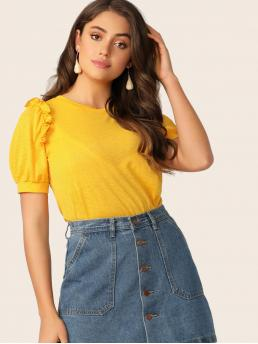 Cute Plain Regular Fit Round Neck Short Sleeve Pullovers Yellow and Bright Regular Length Frill Trim Puff Sleeve Solid Top