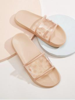Comfort Open Toe Floral Pink Floral Print Clear Sliders
