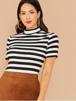 Elegant Striped Slim Fit Stand Collar Short Sleeve Pullovers Black and White Regular Length Mock Neck Two Tone Striped Top