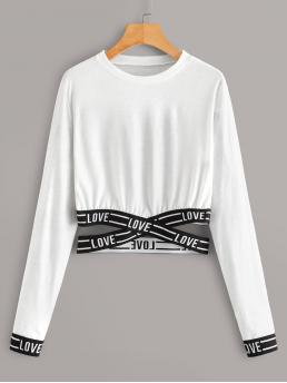 Casual Letter Regular Fit Round Neck Long Sleeve Pullovers White Crop Length Letter Tape Criss Cross Tee