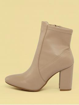 Glamorous Other Side zipper Nude High Heel Chunky Almond Toe Block Heel Sock Ankle Boots