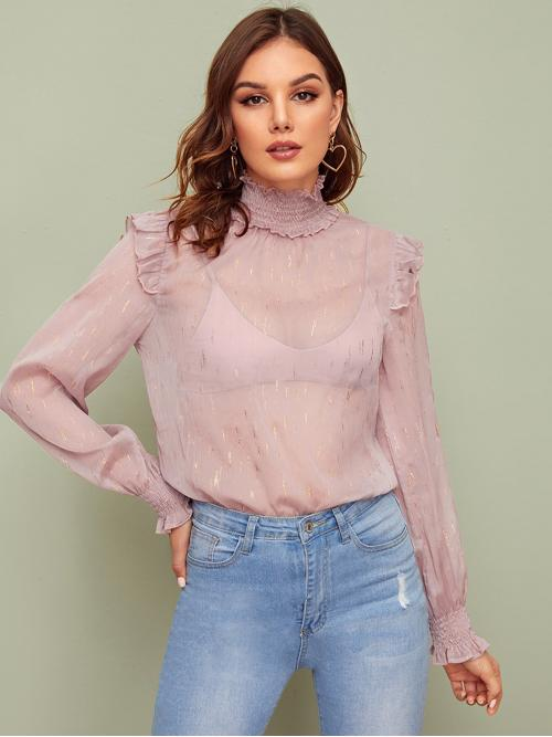 Sexy Plain Top Regular Fit High Neck Long Sleeve Pullovers Pink and Pastel Regular Length Shirred Neck Ruffle Trim Sheer Top Without Bra