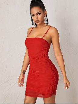 Sexy Bodycon Plain Pencil Slim Fit Spaghetti Strap Sleeveless Natural Red and Bright Short Length Solid Ruched Detail Mesh Bodycon Cami Dress