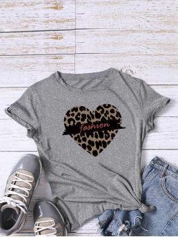 Casual Letter and Leopard Regular Fit Round Neck Short Sleeve Regular Sleeve Pullovers Grey Regular Length Leopard Heart & Letter Graphic Tee