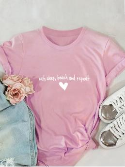 Casual Letter and Heart Regular Fit Round Neck Short Sleeve Regular Sleeve Pullovers Pink Regular Length Heart And Letter Graphic Tee