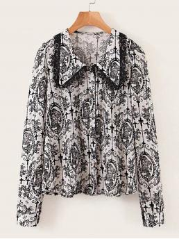 Casual Halloween and All Over Print Shirt Regular Fit Collar Long Sleeve Regular Sleeve Placket Black and White Regular Length All Over Skull Print Contrast Lace Trim Blouse