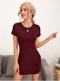 Maroon Plain Split Round Neck Hem Dress Ladies