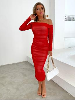 Bright Plain Ruched off the Shoulder Mesh Dress Trending now