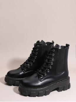Cheap Black Combat Boots Mid Heel Chunky Lace-up Front Chelsea Boots