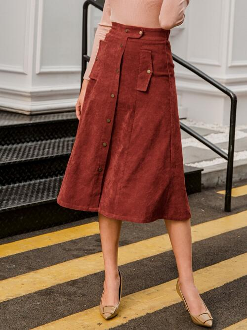 Red High Waist Button Front a Line Front Cord Skirt on Sale