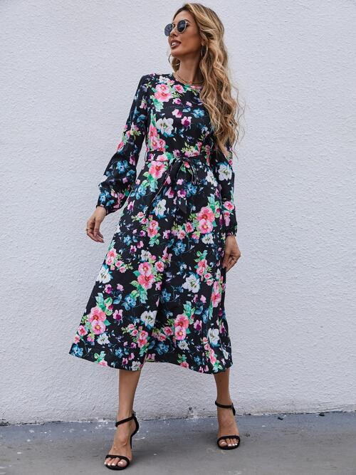 Womens Multicolor Floral Belted Round Neck Dress
