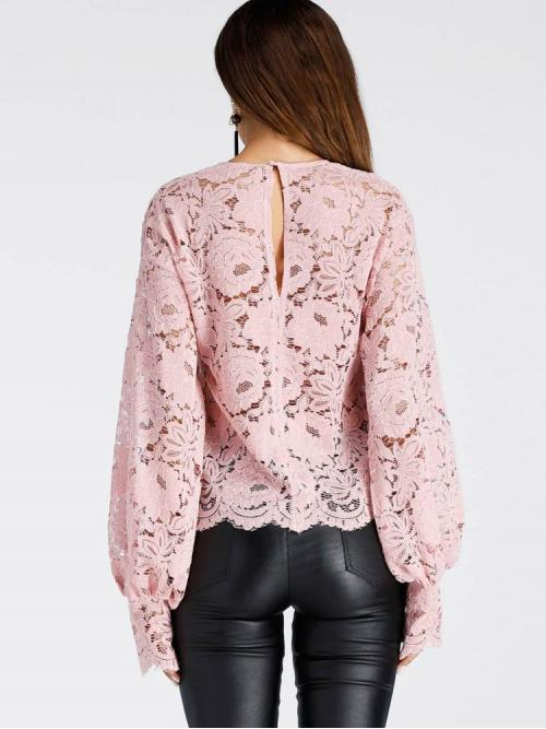 Long Sleeve Top Button Polyester Slit Back Lace Top Ladies