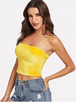 Glamorous Cami Plain Slim Fit Spaghetti Strap Yellow and Bright Crop Length Open Back Velvet Crop Cami Top