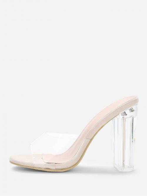 Polyester Clear Mules Button Design Block Heeled Pumps on Sale