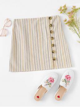 Striped Sheath Button Multicolor Above Knee/Short Length Striped Single Breasted Skirt