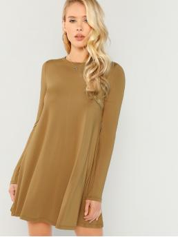 Basics Tee Plain Straight Round Neck Long Sleeve Regular Sleeve Natural Camel Short Length Solid Swing Dress