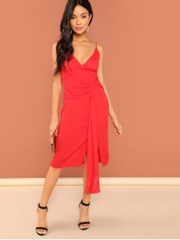 Red Plain Wrap Spaghetti Strap Surplice Knot Dress Shopping