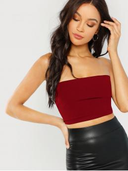 Sexy Plain Slim Fit Strapless Burgundy Crop Length Lace Up Back Crop Bandeau Top