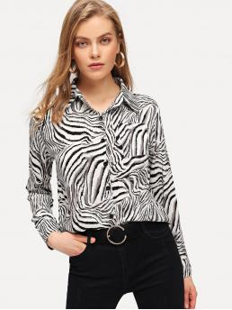 Casual Zebra Stripe Shirt Regular Fit Collar Long Sleeve Placket Multicolor Regular Length Pocket Patched Zebra Shirt