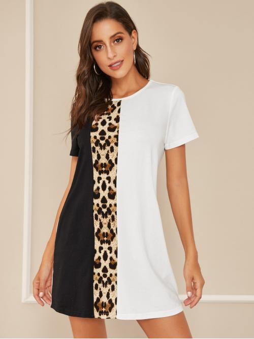 Casual Tee Colorblock and Leopard Straight Regular Fit Round Neck Short Sleeve Regular Sleeve Natural White Mini Length Leopard Colorblock Tunic Dress