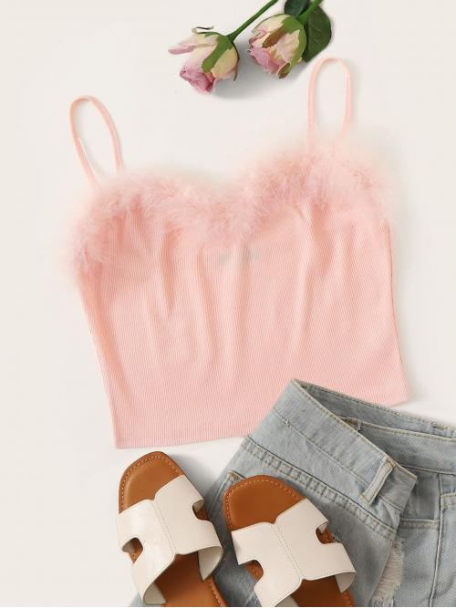 Glamorous and Sexy Cami Plain Slim Fit Spaghetti Strap Pink and Pastel Crop Length Faux Fur Detail Rib-knit Cami Top