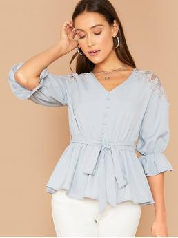 Elegant Plain Flared Top Regular Fit V neck Three Quarter Length Sleeve Flounce Sleeve Pullovers Blue and Pastel Regular Length Lace Insert Bell Sleeve Button Front Peplum Top with Belt