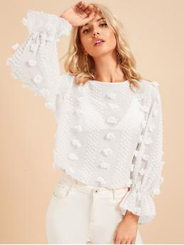 Cute Plain Top Regular Fit Round Neck Long Sleeve Pullovers White Regular Length Flounce Sleeve Keyhole Back Sheer Textured Top Without Bra