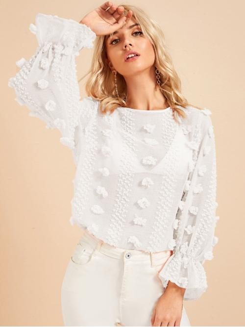 Romantic Plain Top Regular Fit Round Neck Long Sleeve Pullovers White Regular Length Flounce Sleeve Keyhole Back Sheer Textured Top Without Bra