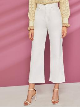 Casual Plain Wide Leg Regular Button Fly High Waist White Cropped Length Solid Button Fly Wide Leg Pants