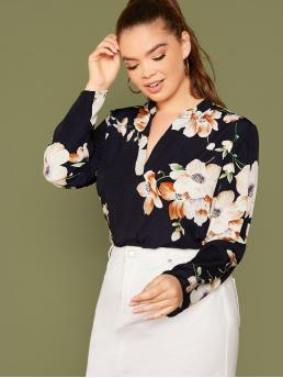 Elegant Floral Asymmetrical Regular Fit Notched Long Sleeve Regular Sleeve Navy Regular Length Plus Notch Collar Floral Top