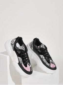 Comfort Round Toe Snakeskin Print Multicolor Lace-up Front Snakeskin Print Chunky Sneakers