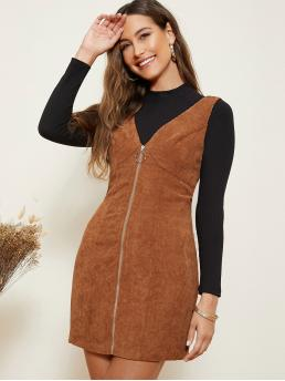 Brown Plain Zipper V Neck O-ring Zip Front Cord Overall Dress on Sale