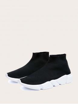 Black Running Shoes High-top Fabric Slip on Sock Sneakers Affordable
