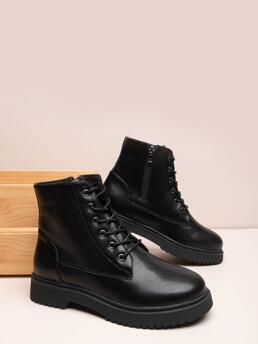 Black Mid Heel Chunky Round Toe Lace-up Front Booties on Sale