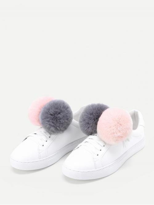Corduroy White Skate Shoes Pom Pom Double Decorated Pu Sneakers Cheap