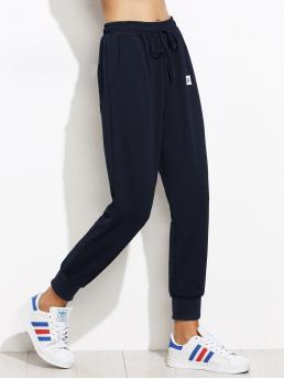 Navy Blue High Waist Patched Wide Leg Patch Detail Jogger Pants Pretty