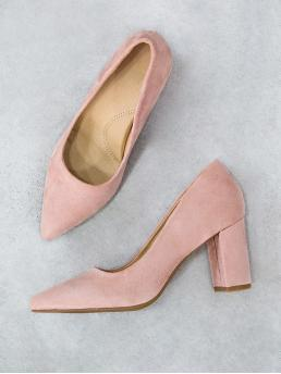 Classy Point Toe Pink High Heel Chunky Comfy Pointy Faux Suede Block Heel DUSTY ROSE