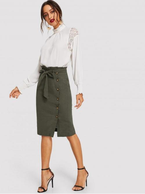Fashion Army Green Natural Waist Belted Pencil Ruffle Detail Button