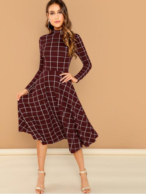 Elegant A Line Plaid Flared Regular Fit Stand Collar Long Sleeve High Waist Burgundy Long Length Mock-neck Fit & Flare Grid Dress