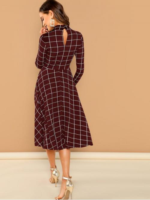Womens Burgundy Plaid Button Stand Collar Mock-neck Fit & Flare Grid Dress
