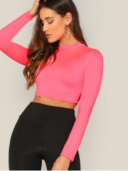Long Sleeve Plain Watermelon Pink Stand Collar Neon Pink Mock-neck Fitted Top Ladies