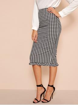 Elegant Pencil Houndstooth High Waist Black and White Midi Length Ruffle Hem Bodycon Houndstooth Skirt