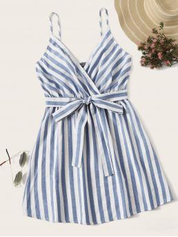 Boho Cami Striped Flared Regular Fit V neck and Spaghetti Strap Sleeveless High Waist Blue and Pastel Short Length Striped Surplice Neck Belted Slip Dress with Belt