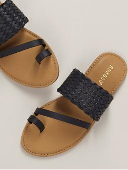 Boho Toe Post Black Wide Woven Band Toe Loop Flat Slide Sandals